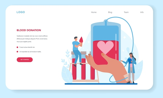 Banner da web ou página de destino para doação de sangue