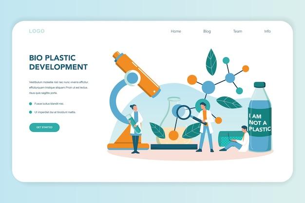 Banner da web ou página de destino para invenção e desenvolvimento de plástico biodegradável