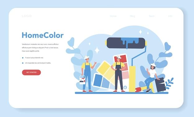 Banner da web ou página de destino para pintura de parede de casa