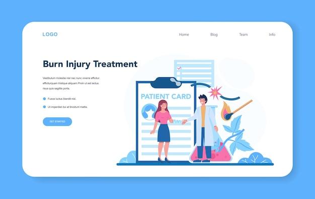 Banner da web ou página de destino para traumatologista e médico cirurgião de trauma