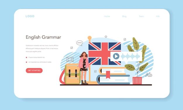 Banner da web ou página inicial da aula de inglês. estudar línguas estrangeiras