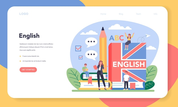 Banner da web ou página inicial da aula de inglês. estude línguas estrangeiras na escola.