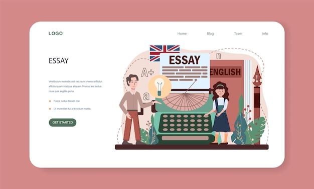 Banner da web ou página inicial da aula de inglês. estude línguas estrangeiras na escola