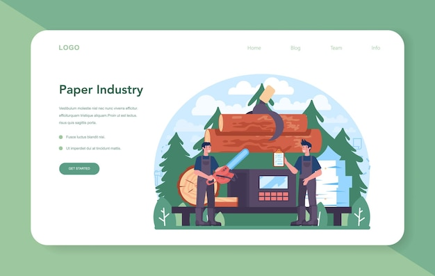Banner da web ou página inicial da indústria de papel. processamento de madeira e papel