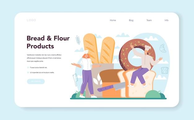 Banner da web ou página inicial de baker. chef de uniforme assando pão. processo de cozedura de pastelaria. loja de produtos de pastelaria e trabalhador de padaria. ilustração vetorial isolada