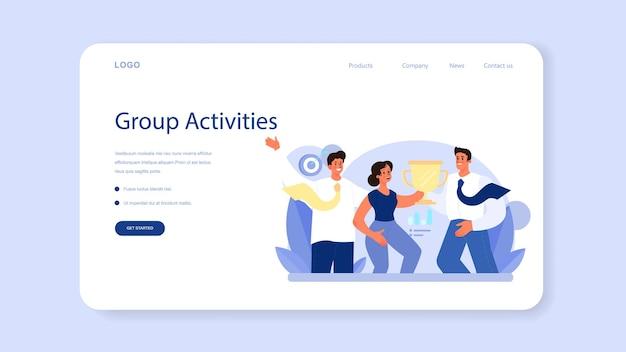 Banner da web ou página inicial de trabalho da comunidade. consolidação de equipe