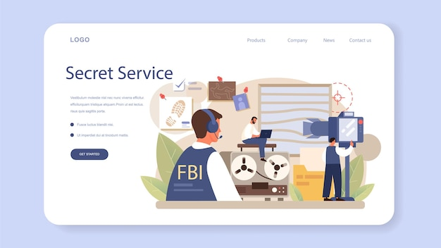 Banner da web ou página inicial do agente do fbi. policial ou inspetor investigando crime. proteção contra espionagem, ataque cibernético e terrorismo. ilustração em vetor plana isolada