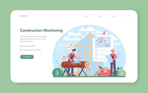 Banner da web ou página inicial do foreman. engenheiro principal monitorando o canteiro de obras. construtor profissional em capacete, indústria da construção, negócios de desenvolvimento de casas. plano. ilustração vetorial.