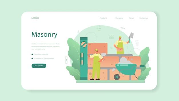 Banner da web ou página inicial do pedreiro. construtor profissional