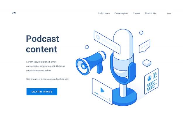 Banner da web para anúncio de conteúdo de podcast interessante