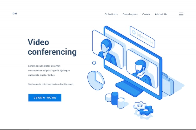 Banner da web para aplicativos modernos de bate-papo por vídeo