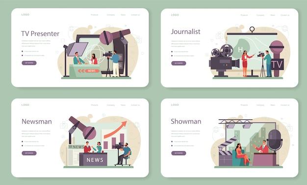 Banner da web para apresentador de tv ou conjunto de páginas de destino