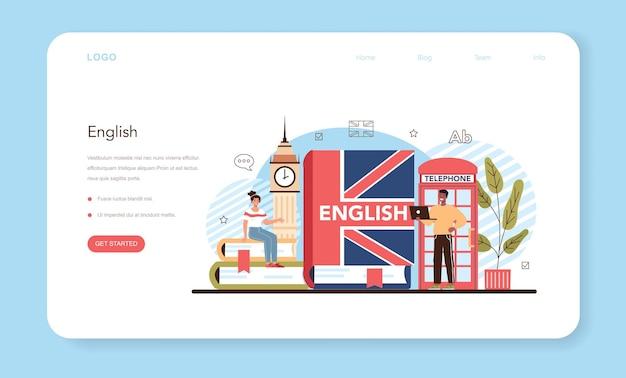 Banner da web para aula de inglês ou página de destino para estudar línguas estrangeiras