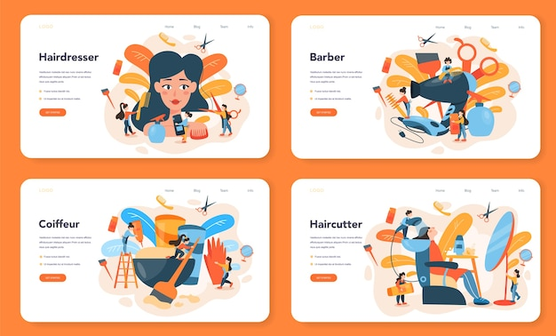 Banner da web para cabeleireiro ou conjunto de páginas de destino