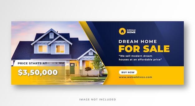 Banner da web para cobertura de mídia social de venda de imóveis