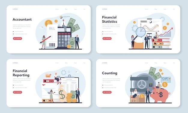 Banner da web para gerente de escritório de contabilidade ou conjunto de páginas de destino