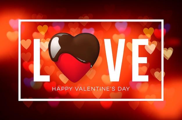 Banner da web para o dia dos namorados. vista superior na composição com coração de chocolate, fundo desfocado.