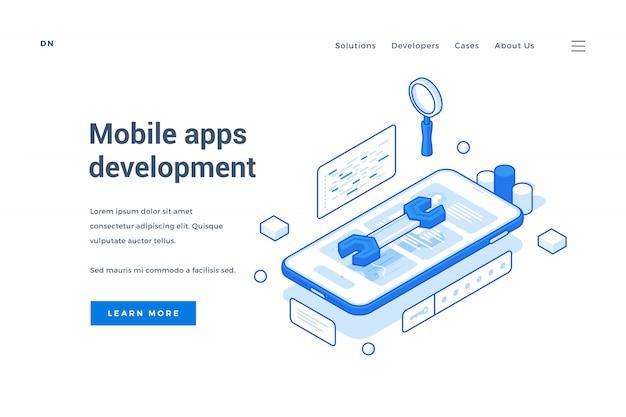 Banner da web para o serviço de desenvolvimento de aplicativos móveis
