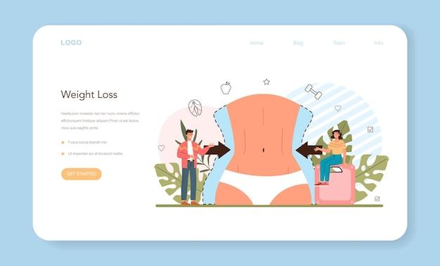 Banner da web para perda de peso ou ideia da página de destino de condicionamento físico e dieta saudável