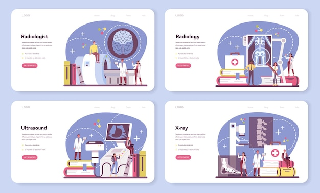 Banner da web para radiologista ou conjunto de páginas de destino