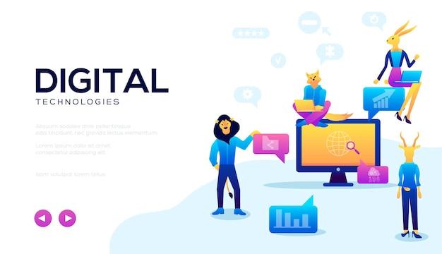 Banner da web para tecnologias e como trabalhar com elas. plano de fundo com computador e internet.