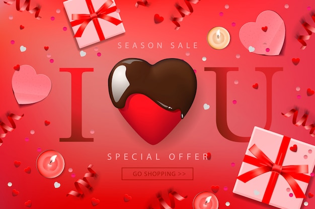 Banner da web para venda de dia dos namorados. vista superior na composição com coração de chocolate, caixa de presente, confetes e serpentinas, ilustração.