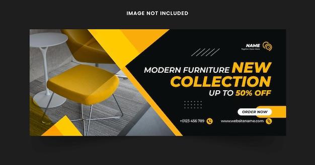 Banner da web para venda de móveis e modelo de capa do facebook