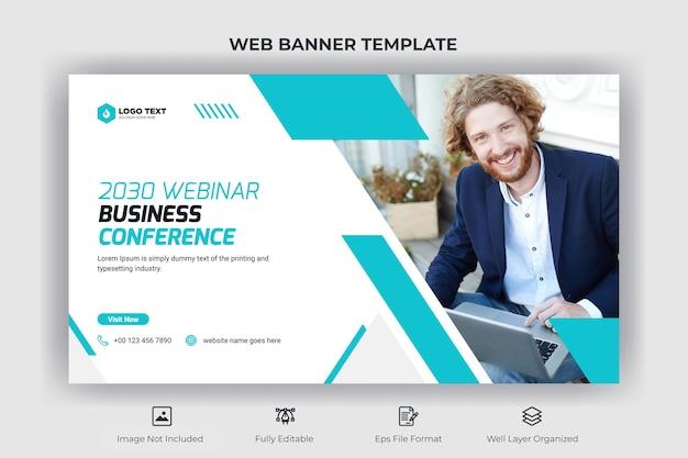 Banner da web para webinar para conferências de negócios e modelo de miniatura do youtube