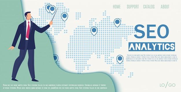 Banner da web plana da empresa de seo analytics