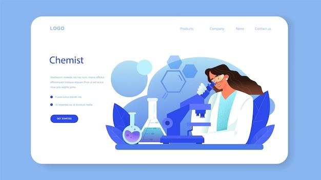 Banner da web químico ou cientista químico da página de destino fazendo um experimento