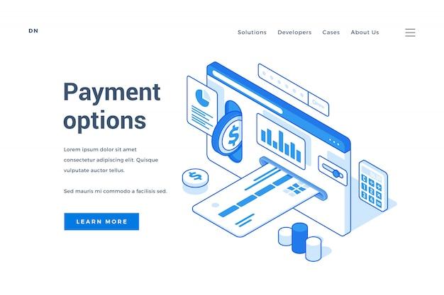 Banner da web representando várias opções de pagamento modernas