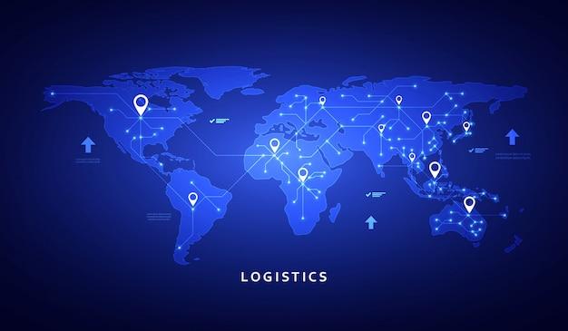Banner da web sobre o tema da logística, armazém, frete, transporte de carga.