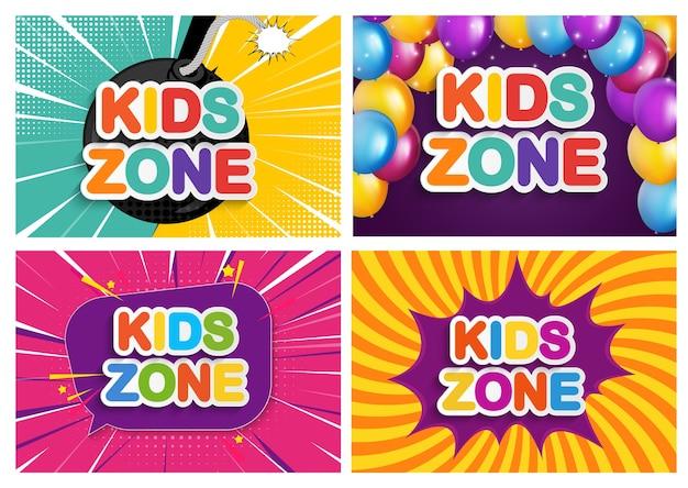 Banner da zona infantil para jogos infantis, festa, cartazes, área de recreação, entretenimento, sala de educação.