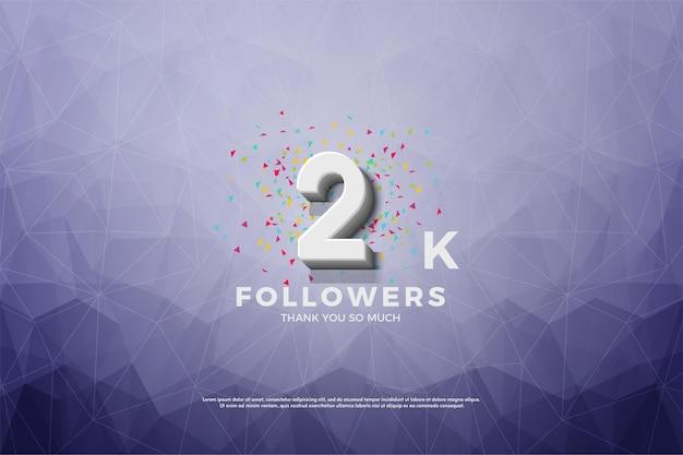 Banner de 2 mil seguidores com números de metal