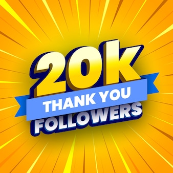 Banner de 20000 seguidores com fita azul