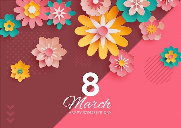 Banner de 8 de março moderno com flores de papel colorido