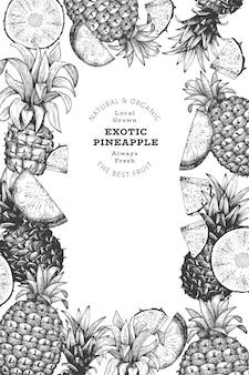 Banner de abacaxi estilo esboço desenhado à mão