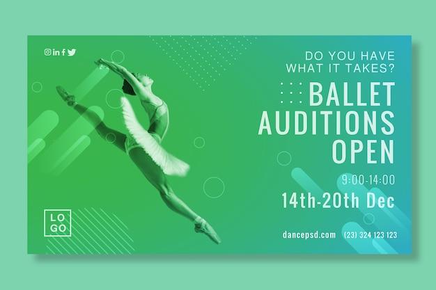 Banner de abertura de audições de balé