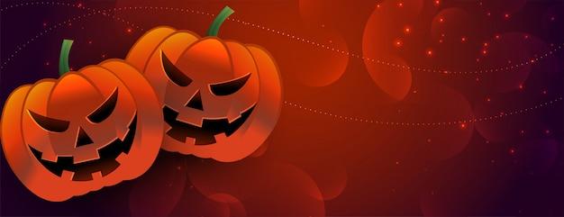 Banner de abóbora assustadora de halloween com espaço de texto