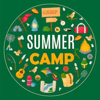 Banner de acampamento de verão