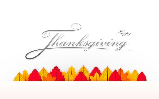 Banner de ação de graças feliz com texto de caligrafia e folhas multicoloridas ilustradas.
