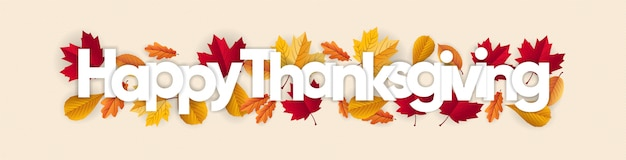 Banner de ação de graças feliz