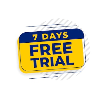 Banner de acesso de teste gratuito de 7 dias