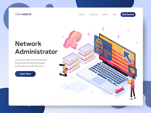 Banner de administrador de rede da página de destino