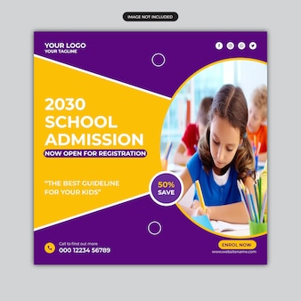 Banner de admissão escolar ou modelo de postagem em mídia social quadrada para admissões