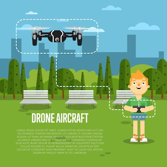 Banner de aeronaves drone com robô voador