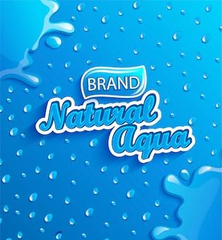 Banner de água natural fresca com gotas e respingos.