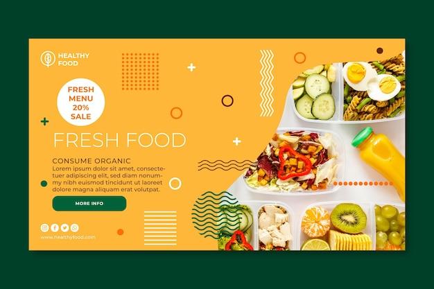 Banner de alimentos biológicos e saudáveis