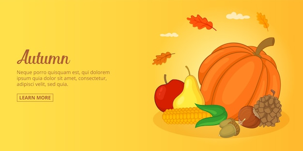 Banner de alimentos de outono homem horizontal, estilo cartoon