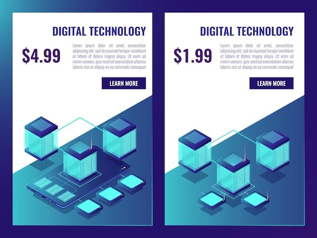 Banner de alojamento e armazenamento de dados em nuvem, brochura de sala de servidores com preço